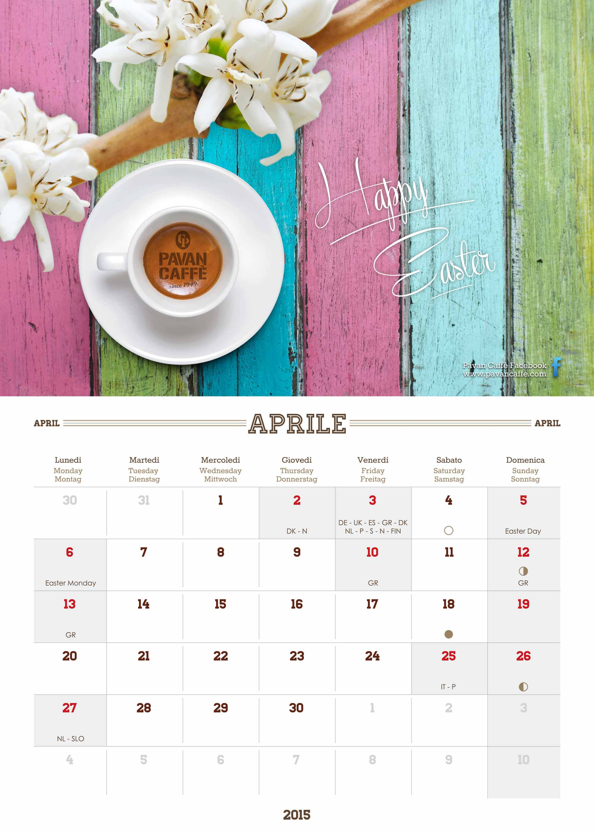 Pavan Caffè 2015 Kalender April